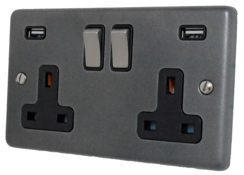 G&H CP3910 Standard Plate Pewter 2 Gang Double 13A Switched Plug Socket 2.1A USB